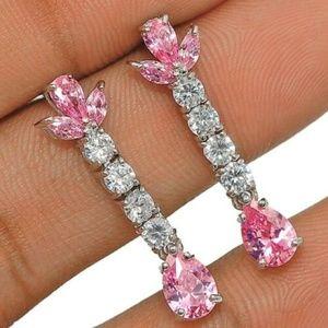 2CT Pink Sapphire & Topaz, 925 Silver Earrings